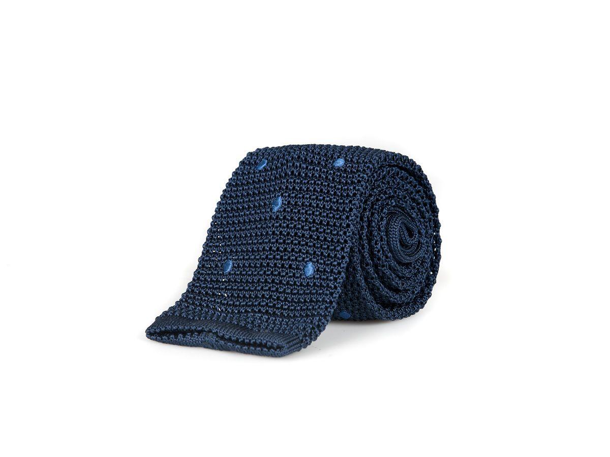 angelucci cravatta in maglia di seta blu a pois celeste  cravatte all u00b4uncinetto